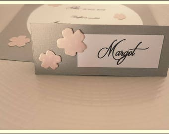 Set of 10 baptism girl - cherry blossom - wedding place cards