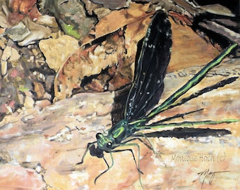 "Fine Art Print "" Black Winged Damselfly"" of original oil painting by Monique Hoch"