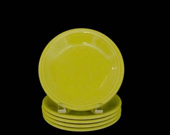 Lot of 5 Vintage Homer Laughlin Fiesta Side Plates in Chartreuse Green Retro Vintage Classic Fun Dinnerware Mid Century Modern Design