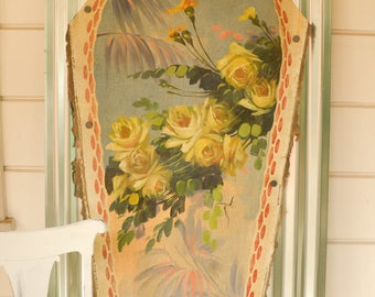 Antique Carousel Painting, Merry Go Round Art, Painted Canvas Panel from Carousel, Yellow Roses
