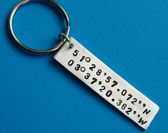 Coordinates keyring, latitude longitude, latitude keyring, longitude keyring, hand stamped keyring, customised keyring, custom jewelry, gift