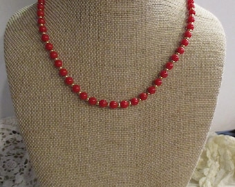 Red and gold Monet Necklace