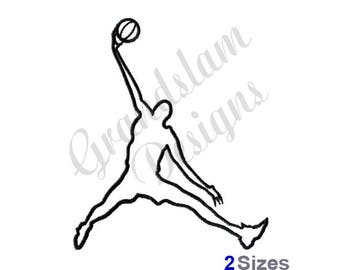Basketball Dunk Outline - Machine Embroidery Design