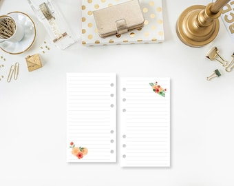 Personal Flower Lined planner printed insert - line paper - lines - Filofax insert - lined planner page - Personal or Personal Wide