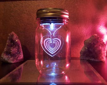 Wedding Table Light - Mason Jar Solar Light - Clear Ball Mason Jar Lantern - Outdoor Indoor Decoration - Custom Etched Acrylic Heart - Heart