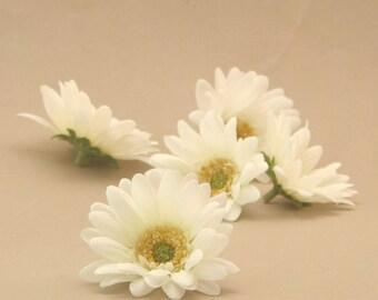 5 Creamy White Mini Daisies - Arificial Flowers, Silk flower Heads
