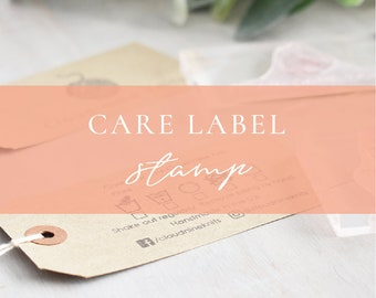 Custom Care Label Stamp | Washing Instructions for Fabric - Care Label Tags - Fabric Stamp - Care Icons - Washing Instructions