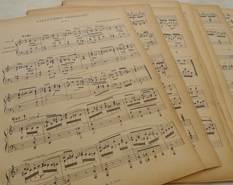 1800s Antique Music Paper Bundle, EXTRA LARGE French Music Sheets, Book Page Bundle, Scrapbooking Paper Ephemera from France, 10 sheets