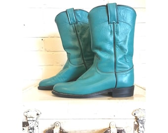 80s Teal Justin boots | 5 1/2 - 6