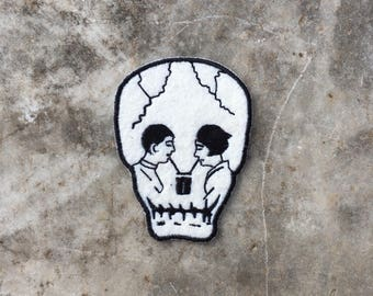 Drinking Skull Sew On embroidered patch