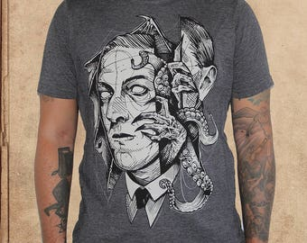 H.P. Lovecraft Portrait - Heather Charcoal - Poly Cotton - Cthulhu