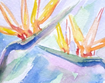 original watercolor painting ACEO flowers, birds of paradise 2.5x3.5 inches