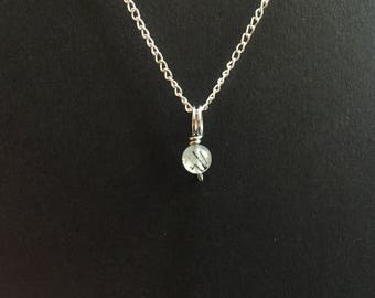 Tiny Tourmalated Quartz Charm Necklace
