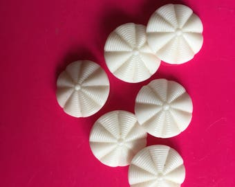 Stunning 1920 Vintage Buttons 3D molded White Milk Glass Art Deco old stock For clothing sewing knitting costume accessory jewellery dolls