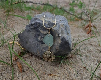 "14 K Gold 18"" chain sanddollar charm and seaglass necklace"