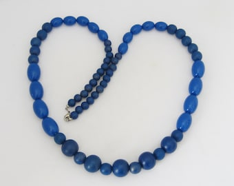 Vintage Jewelry Blue Wood & Lucite Bead Necklace 35''