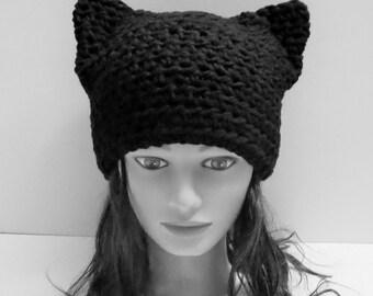 Black Cat Hat, Crochet Black Cat beanie, ANY SIZE One Price! Animal Beanie, knit Kitten Hat, Special Gift Under 20. Best Selling Handmade