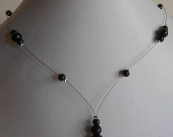 Wedding necklace cascade of black beads