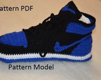 CROCHET Pattern -Nike Air Jordan 1 Crochet adult MEN ( US 4,5 / 5,5/ 6 / ) misure pattern