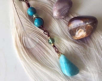 Upcycled Vintage Agate Stone Pendant Necklace