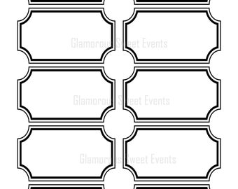 INSTANT DOWNLOAD, Black and White Blank Labels, Printable