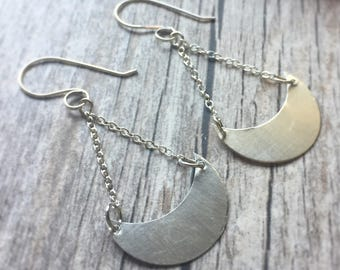 Silver Moon Earrings Crescent Moon Dangle Earrings Sterling Silver Earrings Sterling Moon Drop Earrings Chandelier Earrings Swing Earrings