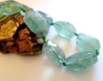 LAST set: 2 large nugget beads, natural Fluorite (not dyed), about 3 to 4cm