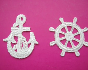 Anchor Appliques Ships Wheels Off White Lace Appliques  Embroidered Nautical Embellishments Sailor Clothing Trims Notions