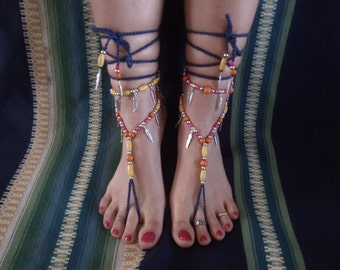 Barefoot sandals, boho, hippie, tibetan silver, jewelry barefoot, jewelry belly dancing, tribal