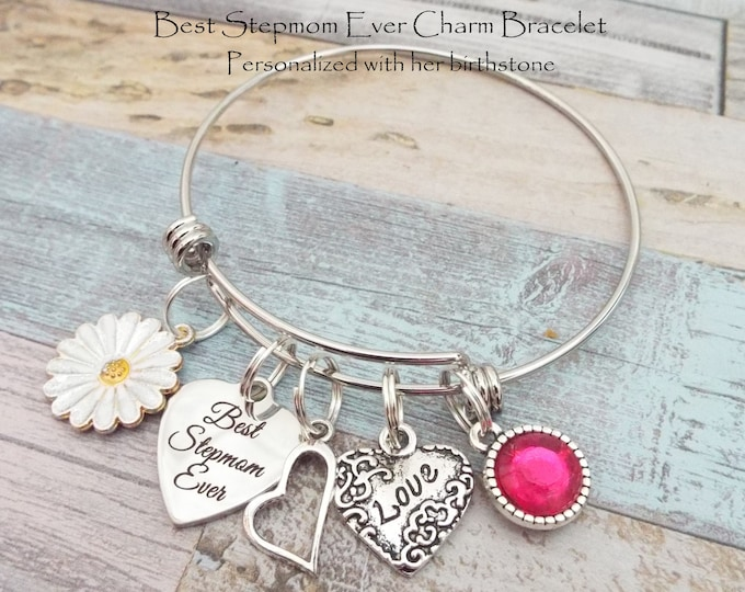 Gift for Stepmother, Best Stepmom Charm Bracelet, Stepmom Gift, Birthday Gift for Stepmom, Child's Gift to Stepmother, Gift for Her