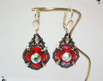 Dangling earrings with pearl beads, Crystal and woven seed beads