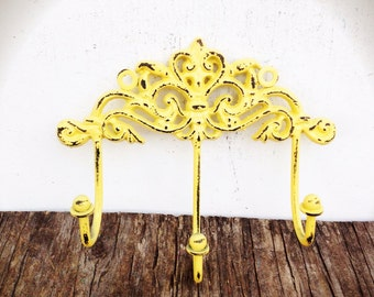 BOLD golden yellow ornate towel hook // Victorian vintage inspired // cottage chic // wall hook // shabby chic // keys hook