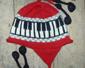 Red Adult Piano Earflap Hat, Medium