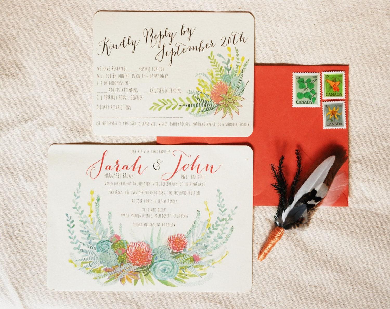 Hand Drawn Custom Wedding Invitation Suite: flowers ferns