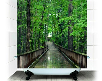 Fabric Shower Curtain  - Solitude -  Photography, bathroom, home, decor, forest, green, path, rain, RDelean