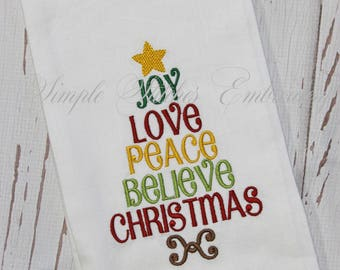 Joy Love Peace Believe Christmas Kitchen Tea Towel