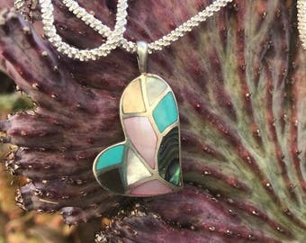 Vintage Sterling Silver Inlaid Heart Necklace with Italian Chain