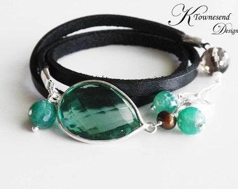 Leather Wrap Cuff Bracelet Green Hydro Quartz Gemstone Bezel Smoky Quartz Charm Jewelry Leather Jewelry