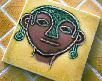 Ancient Petroglyph - Women with Earrings - Handmade Ceramic Tile