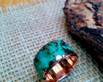 Mens Marbled Copper Ring Band. 2.5mm X 14 mm Thick and Wide.