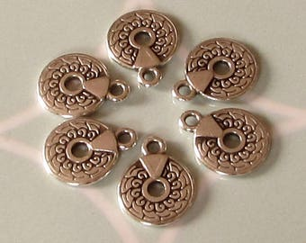 Small Round Charm, Antique Silver, 6 Pieces, AS455