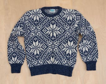 vtg 80's Royal North Mills Outfitters Wool Sweater Nordic Fair Isle Blue Size M