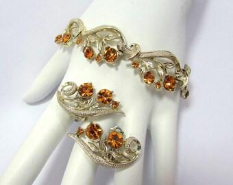 "Lisner Topaz Rhinestone Bracelet & Clip Earring Set - Etched silvertone base - 7"" bracelet - 1950s"