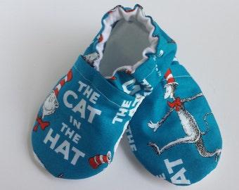 BOGO - code BOGO7 Cat in the Hat moccasins,  Dr Seuss Moccasins, Cat in the hat booties,  Dr Seuss booties, soft sole shoes, baby shoes,
