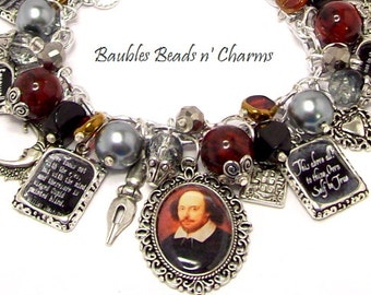 William Shakespeare Quotes Charm Bracelet, Literary Charm Bracelet Jewelry, Writers Authors Charm Bracelet Jewelry