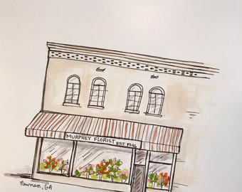 Custom storefront illustration, Archival Quality 8x10 print
