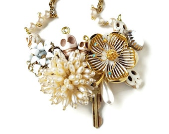 Sugar Skull Necklace, Day of the Dead Wedding Necklace, Dia de los Muertos, Repurposed Vintage, Upcycled Jewelry, Skulls, Folk Art Mexican