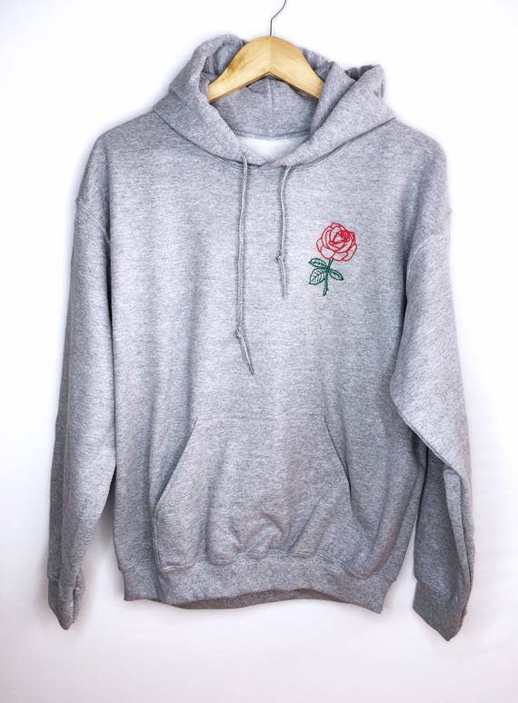 Rose Hoodie • Embroidered Sweatshirt • Single Flower Sweatshirt • Embroidery  Sweater • Womens Hoodie • Womens Clothing • (basic) G185black