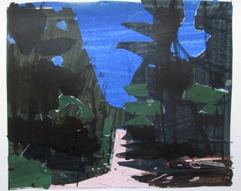 First Heat on Coyote Hill, Original Spring Landscape Collage Painting on Paper, Stooshinoff