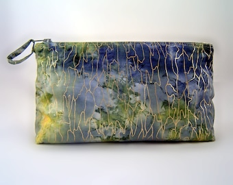 Handmade Zippered Pouch Color Splash Blue